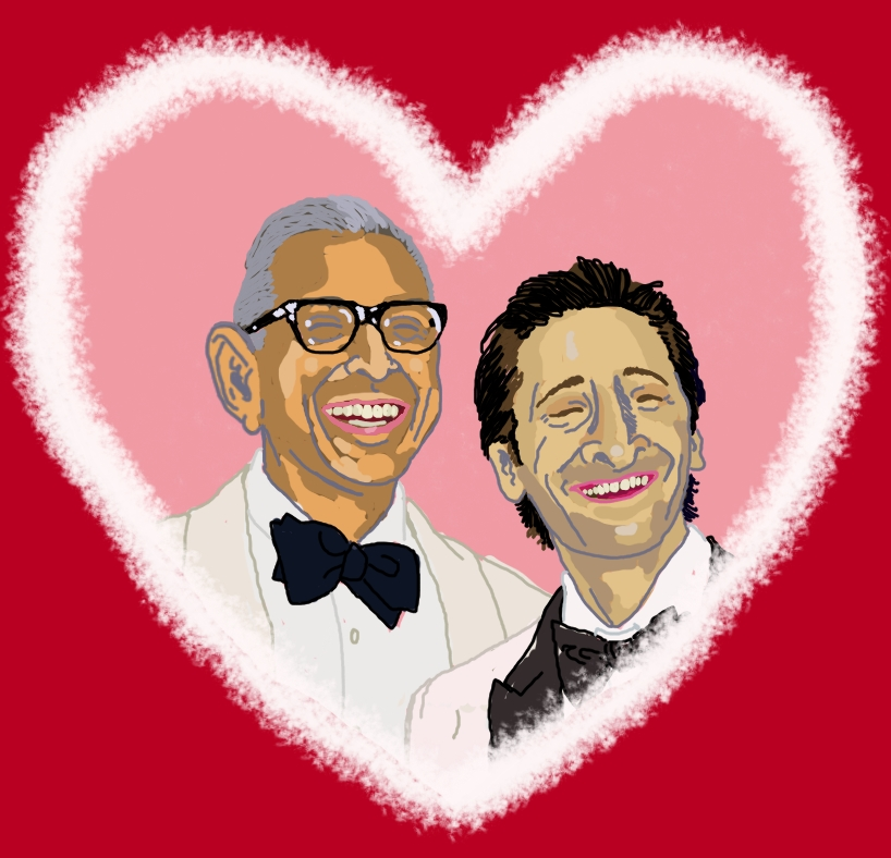 Oscars Best Couple Award goes to Jeff Goldbloom and Adrien Brody! They are standing together in white tuxedos, smiling, encircled by a romantic heart.