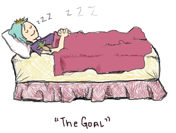 Illustration showing Amandoll asleep in a bed. Her face is peaceful. Snores come out. Her trusty stuffed animal, Scroungey, is with her.