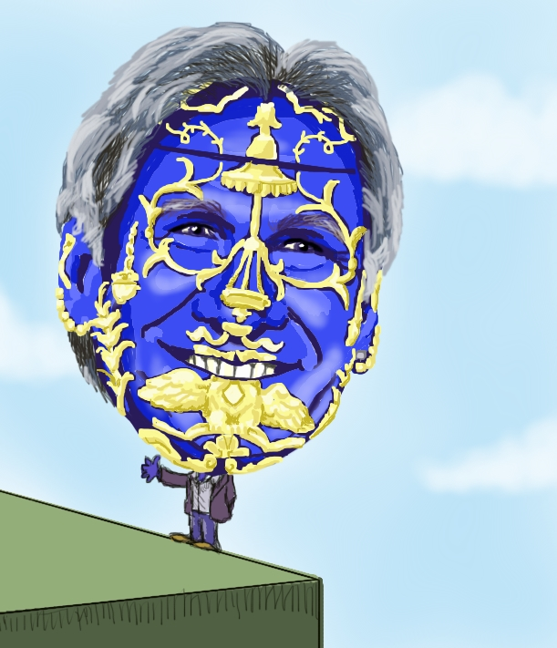 This is a drawing of Harrison Ford with a big gigantic head that resembles a Faberge Egg. His tiny body is teetering on the edge of a huge cube, awaiting certain destruction.