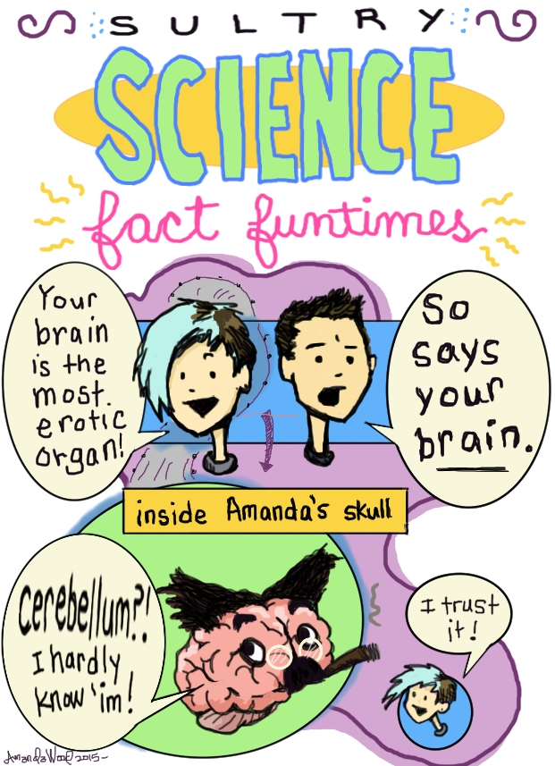 """Here is a very small and simple comic called """"Sultry Science Fact Fun Times.""""  Amandoll says to Alex T: Your brain is the most erotic organ. Alex T replies: So says your brain.  Then, """"inside Amandas skull."""" A brain that resembles Groucho Marx says, """"Cerebellum? I hardly know him!"""" And Amandoll off to the side enthusiastically says, """"I trust it!"""""""
