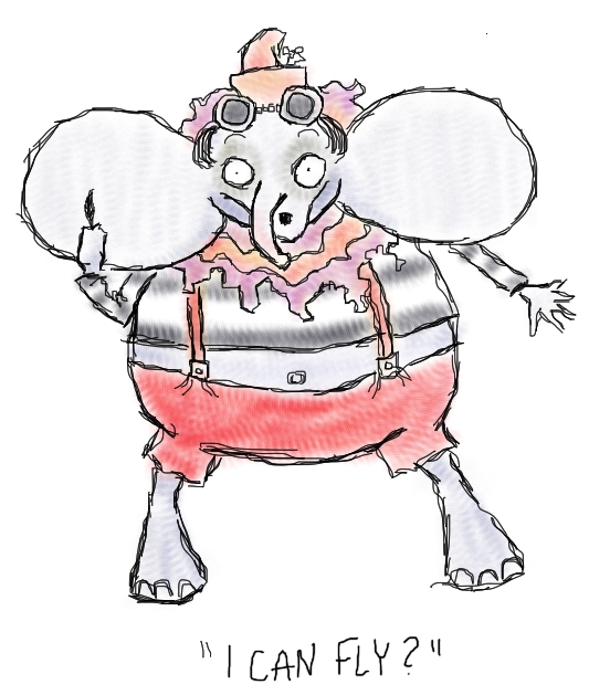 """In this wacky interpretation of Dumbo Depp, Dumbo stands on hind legs, looks gaunt and perpetually surprised. He wears striped clothes and goggles, of course. Underneath him it says, """"I can fly?"""""""
