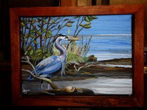 Blue Heron Acrylic by Amanda Wood