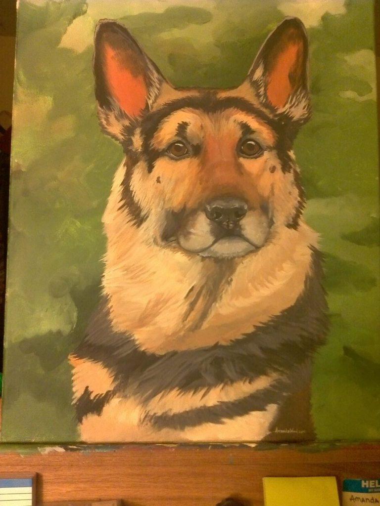 German Shepherd Acrylic Painting by Amanda Wood