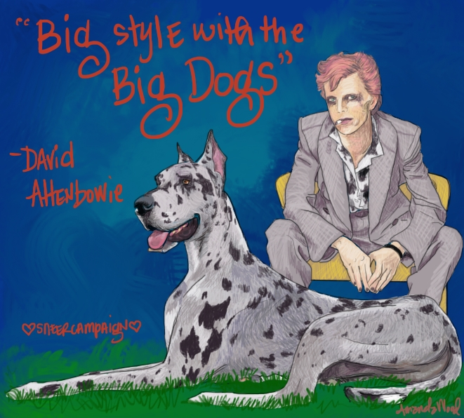 David Attenbowie sits upon a yellow chair, ciggy in mouth, leaning forward, elbows on knees. He has a nice plain grey suit, with a lighter grey shirt underneath that has big darker grey to black splotches on it.  In front of him lies a big merle great dane.