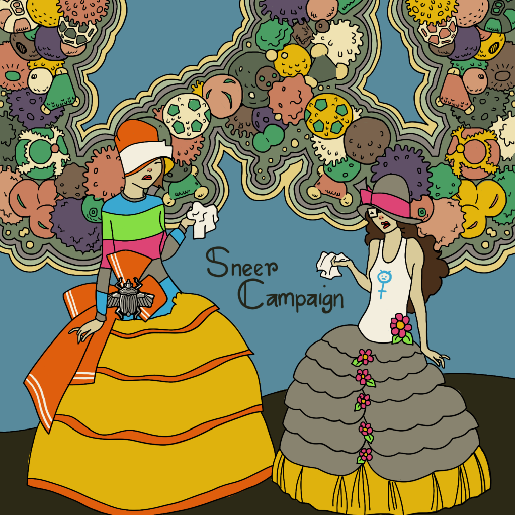 An illustration done in 1920s style, modeled after a magazine cover of an old Brazilian magazine called Para Todos.  Dollissa and Amandoll are standing next to each other, wearing large bell hoop skirt type skirts, they have layers. Amandoll's is yellow and orange, and Dollissa's is grey and yellow with pink flower embellishments. Dolliss also has on a white tank top with a drawing of a blue symbol for female. It looks mad. Amandoll is wearing her classic iconic brightly colored shirt, but also a huge bow on her hip that has an out of place looking scarab beetle on it.  They both have tissues in their hands and pink swollen noses. They look miserable. Loops of giant pollen are in the background.