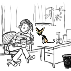 This is a small square image where a Doofus and Darling panel of Amandoll/Darling sitting at her desk, looking vacant and drinking coffee, has been taken and a little copy and pasted image of Swizzle the Cat from a Kitty Comic elsewhere on the site sits on the desk.