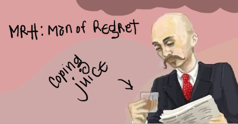 """Billy Holiday is illustrated here. He is in 1930s era suit, reading a newspaper and drinking from a small liquor cup. He looks a little downcast.  On the image is written """"Mr H: Man of Regret."""" There is an arrow pointing at the cup that says """"coping juice."""""""