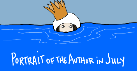 """An illustration of Erica's author photo used on this site -- which ordinarily is her dressed in a 1920s big overcoat, wearing a turban that also has a crown on top of it. But in this, there is also water all the way up to her nose. You only see the top of her head, and crown (and turban). Written on the bottom of the image, it says """"Portrait of the Author in July."""""""