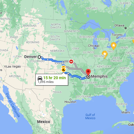 Screen Capture taken of a far zoomed out google map of the USA. Plotted out on the map are some options for driving between Memphis, Tennessee, and Denver, Colorado. The fastest time is 15 hours and 20 minutes, and 1,095 miles. Just one way.
