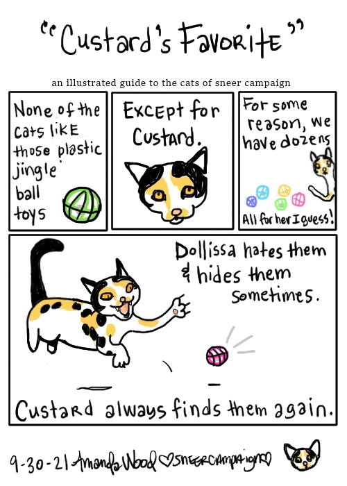 """A 4 panel comic called """"Custard's Favorite"""" an illustrated guide to the cats of sneer campaign.   The first three panels go like this:  """"None of the cats like those plastic jingle ball toys."""" With a picture of a lime green plastic cat toy sphere. """"Except for Custard."""" This panel shows a close up of her cute little face. """"For some reason we have dozens."""" You see about five of the toys with Custard leaning over them, about to swat. Under it, it says all on one line: """"All for her I guess!""""  The big fourth panel at the bottom says: """"Dollissa hates them and hides them sometimes."""" With an illustration of Custard leaping in and attacking a hot pink jingle ball. Beneath it it says """"Custard always finds them again."""""""